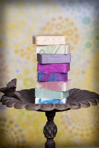 soap bars stacked on pedestal